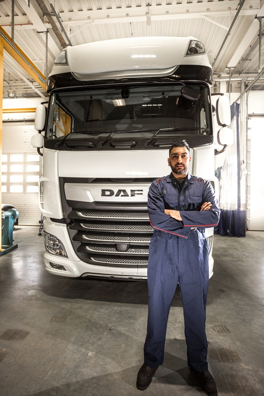 DAF technician working in workshop dealership